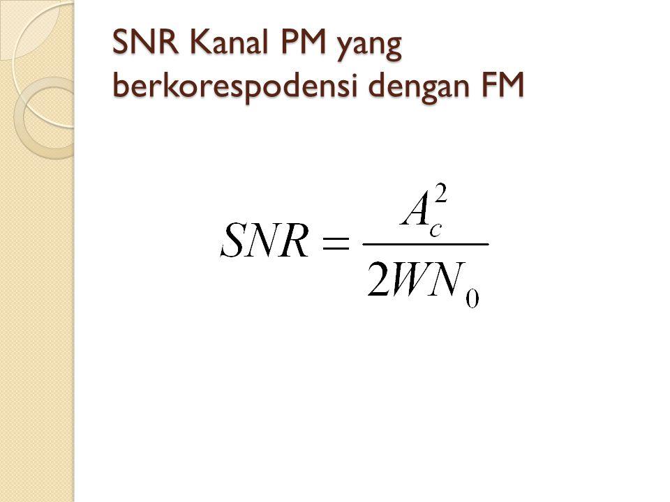 SNR Kanal PM yang berkorespodensi dengan FM