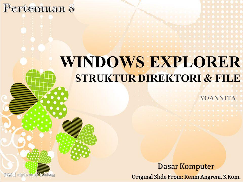 W INDOWS E XPLORER Adalah fasilitas yang berfungsi untuk mengelola file dan folder dalam sistem operasi windows.