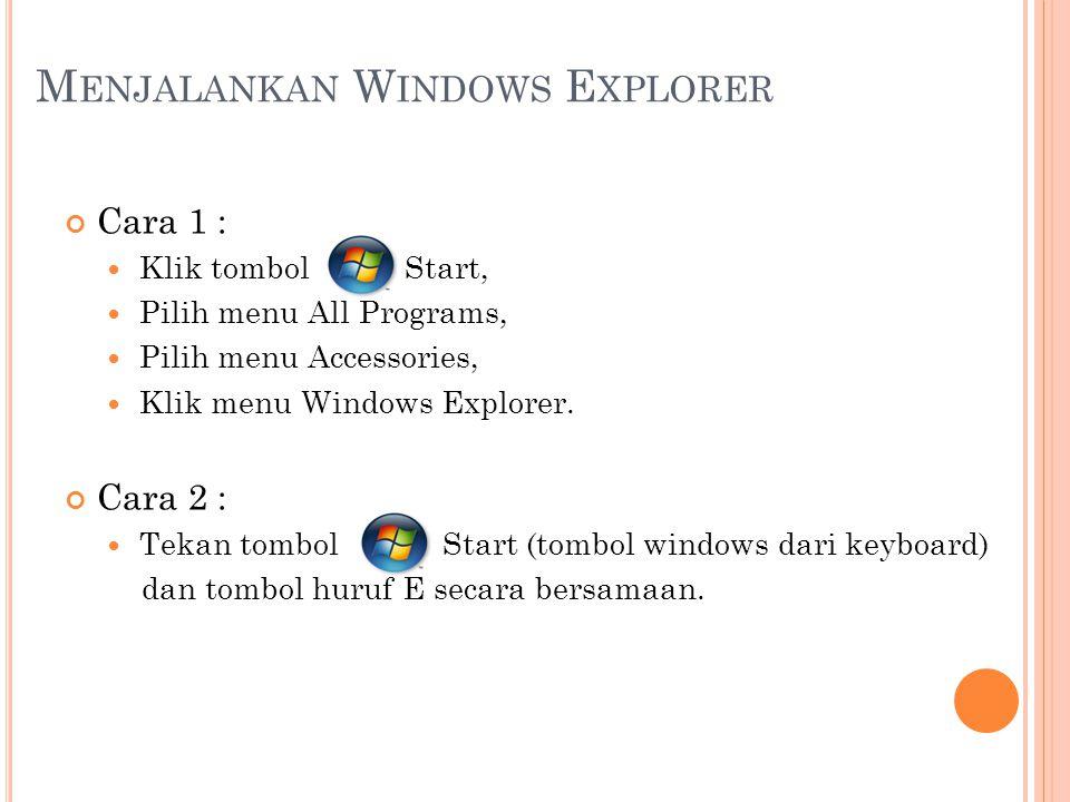 M ENJALANKAN W INDOWS E XPLORER Cara 1 : Klik tombol Start, Pilih menu All Programs, Pilih menu Accessories, Klik menu Windows Explorer. Cara 2 : Teka