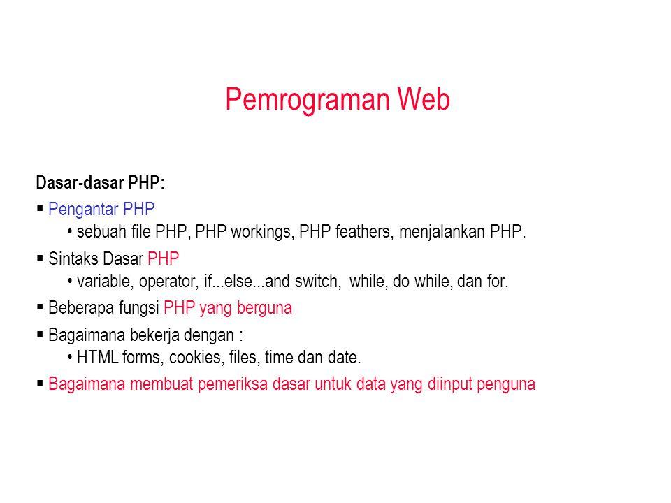 Pemrograman Web Dasar-dasar PHP:  Pengantar PHP sebuah file PHP, PHP workings, PHP feathers, menjalankan PHP.