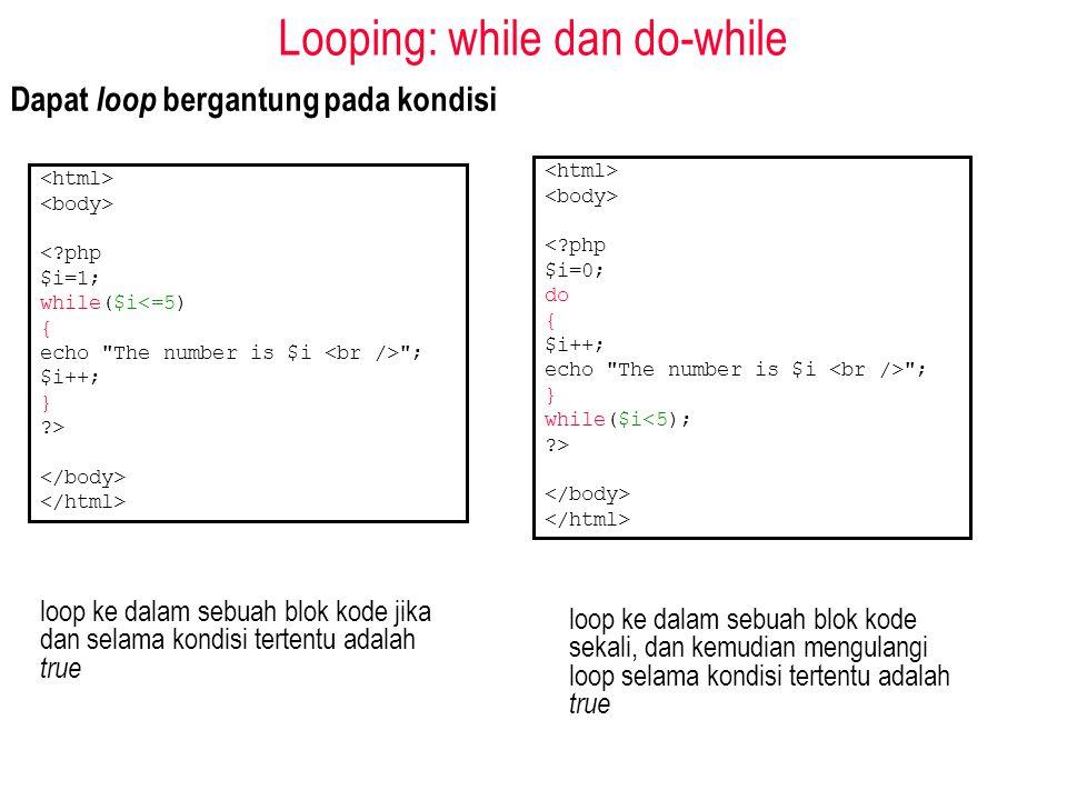 Looping: while dan do-while Dapat loop bergantung pada kondisi <?php $i=1; while($i<=5) { echo