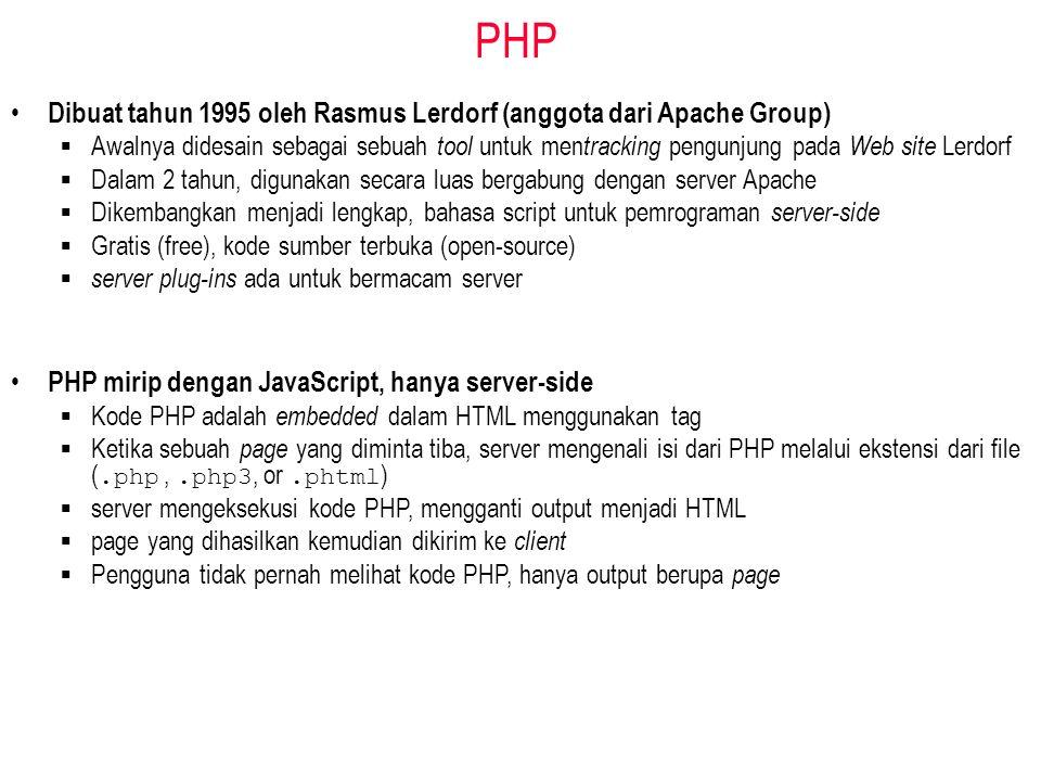 PHP PHP mirip dengan JavaScript, hanya server-side  Kode PHP adalah embedded dalam HTML menggunakan tag  Ketika sebuah page yang diminta tiba, server mengenali isi dari PHP melalui ekstensi dari file (.php,.php3, or.phtml )  server mengeksekusi kode PHP, mengganti output menjadi HTML  page yang dihasilkan kemudian dikirim ke client  Pengguna tidak pernah melihat kode PHP, hanya output berupa page Dibuat tahun 1995 oleh Rasmus Lerdorf (anggota dari Apache Group)  Awalnya didesain sebagai sebuah tool untuk men tracking pengunjung pada Web site Lerdorf  Dalam 2 tahun, digunakan secara luas bergabung dengan server Apache  Dikembangkan menjadi lengkap, bahasa script untuk pemrograman server-side  Gratis (free), kode sumber terbuka (open-source)  server plug-ins ada untuk bermacam server