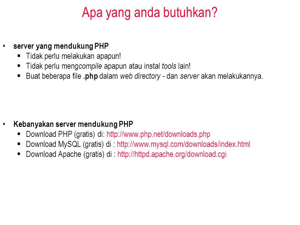 Apa yang anda butuhkan. server yang mendukung PHP  Tidak perlu melakukan apapun.
