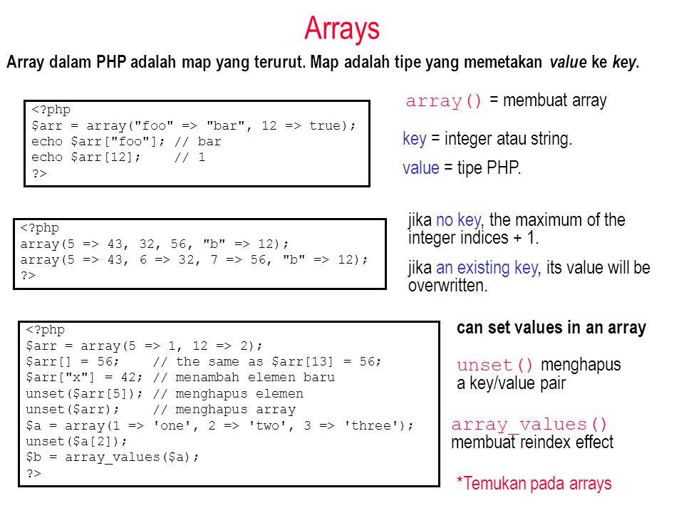 Arrays Array dalam PHP adalah map yang terurut. Map adalah tipe yang memetakan value ke key. array() = membuat array <?php $arr = array(