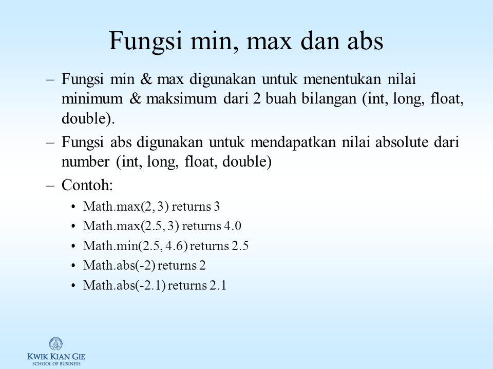 Latihan pembulatan Buat souce code Java untuk menampilkan: 1.Math.ceil(2.1) returns 3.0 2.Math.ceil(2.0) returns 2.0 3.Math.ceil(-2.0) returns -2.0 4.