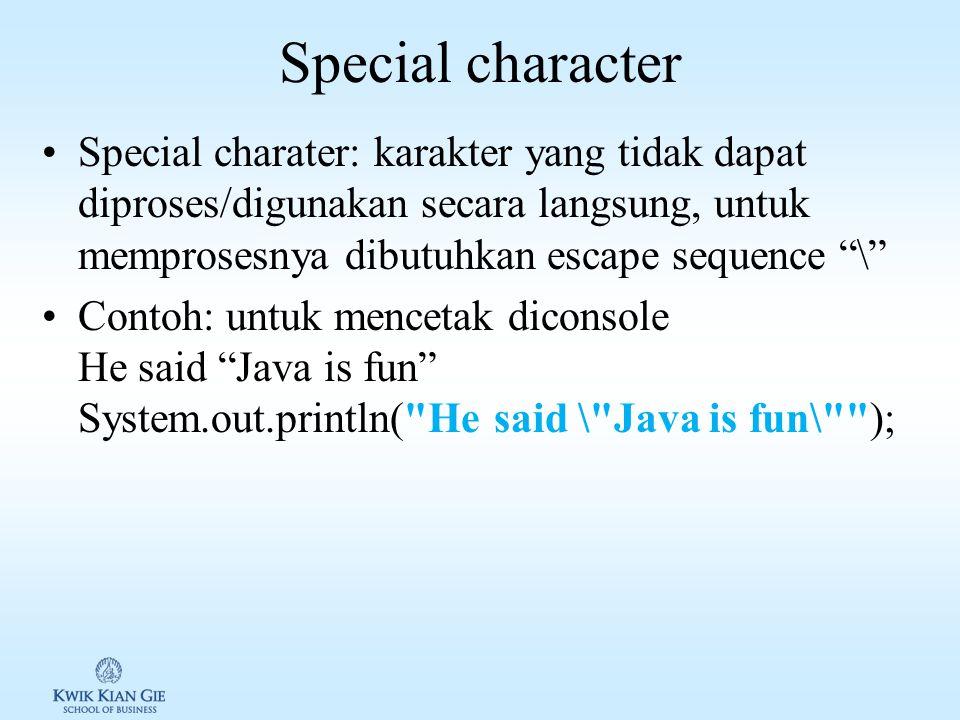 Latihan ASCI & Unicode Buat souce code Java untuk menampilkan: 1.char letter1 = 'A'; 2.char letter2 = '\u0041'; 3.char ch = 'a'; System.out.println(++