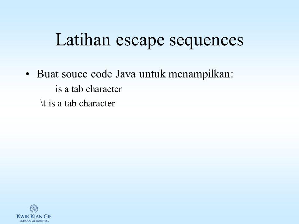 Escape sequences