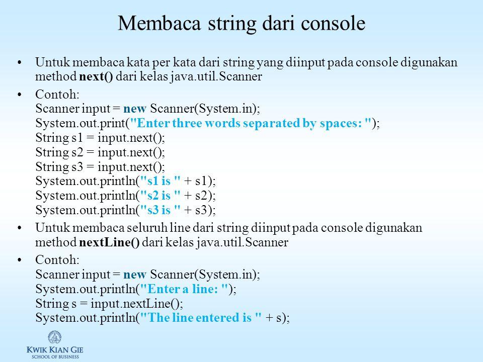 Konversi string Java memiliki method toUpperCase() & toLowerCase() untuk merubah string kedalam uppercase dan lowercase Contoh:
