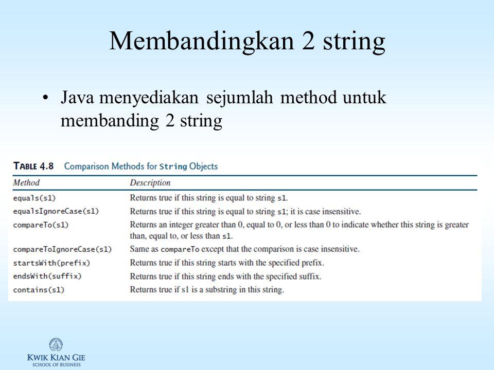 Membaca karakter dari console Untuk membaca karakter yang diinput pada console digunakan method nextLine() dari kelas java.util.Scanner, lalu diambil