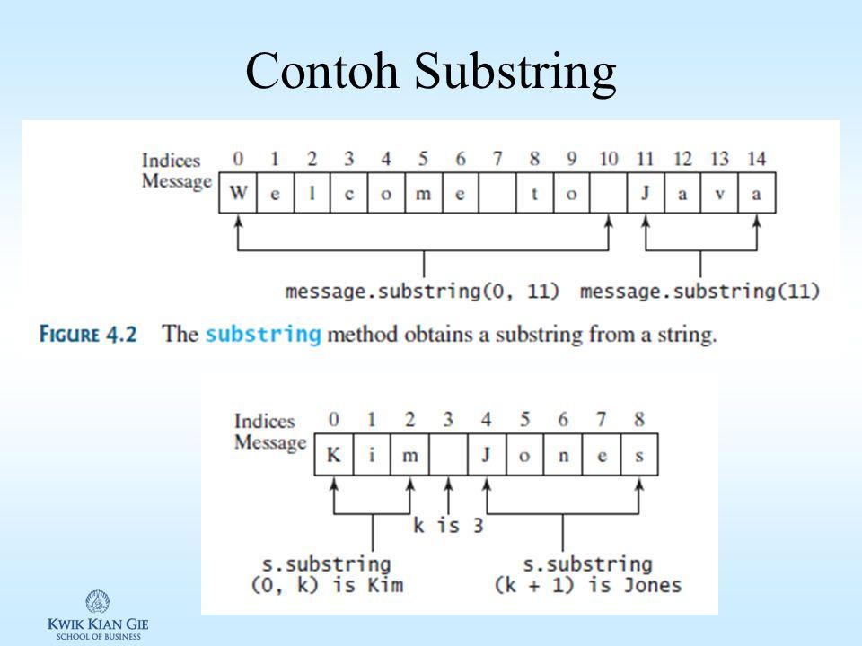 Mengambil Substring Java menyediakan method untuk mengambil Substring
