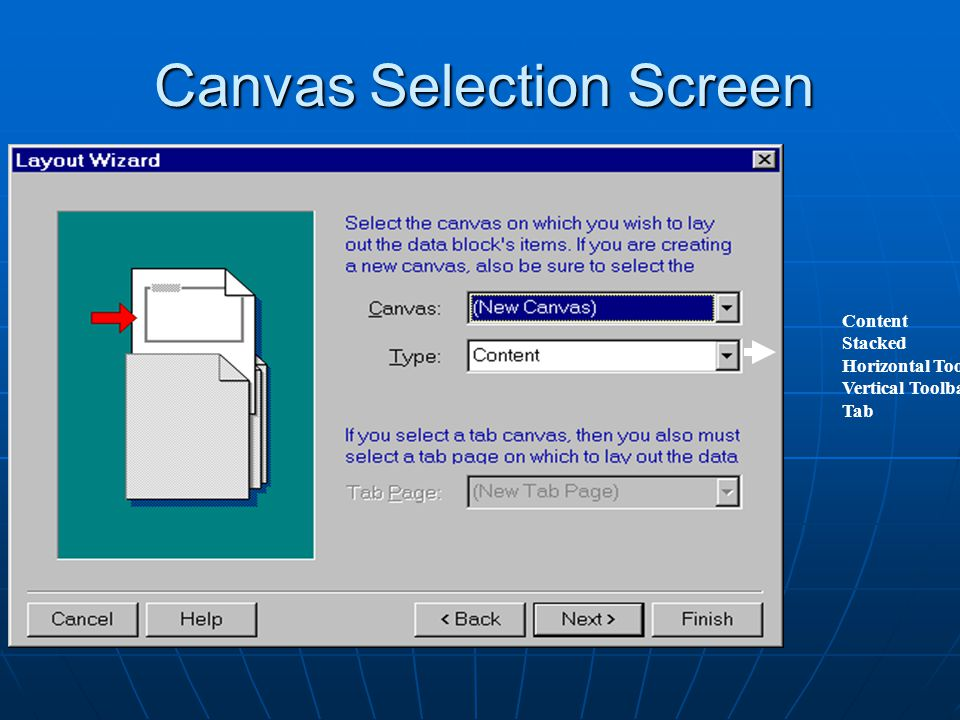Canvas Selection Screen Content Stacked Horizontal Toolbar Vertical Toolbar Tab