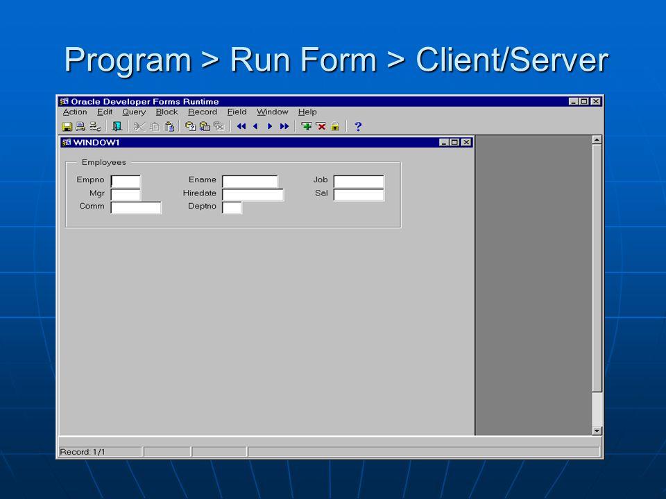 Program > Run Form > Client/Server