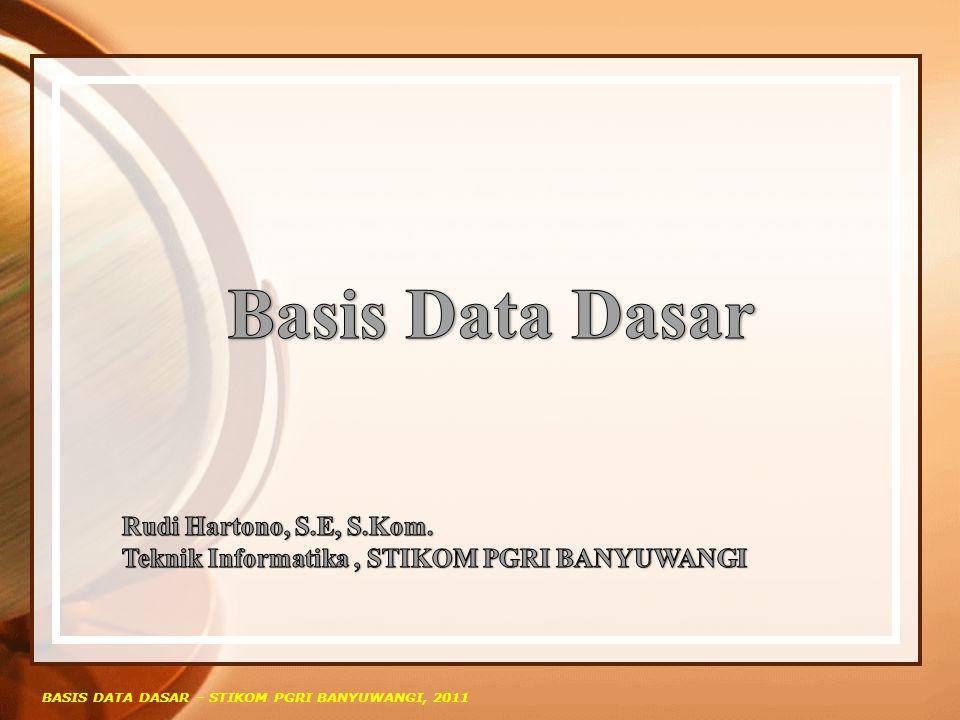 Arsitektur Basis Data Menurut ANSI, arsitektur basis data terbagi atas tiga level yaitu : Internal/Physical Level: berhubungan dengan bagaimana data disimpan secara fisik (physical storage) External /View Level: berhubungan dengan bagaimana data di representasikan dari sisi setiap user.