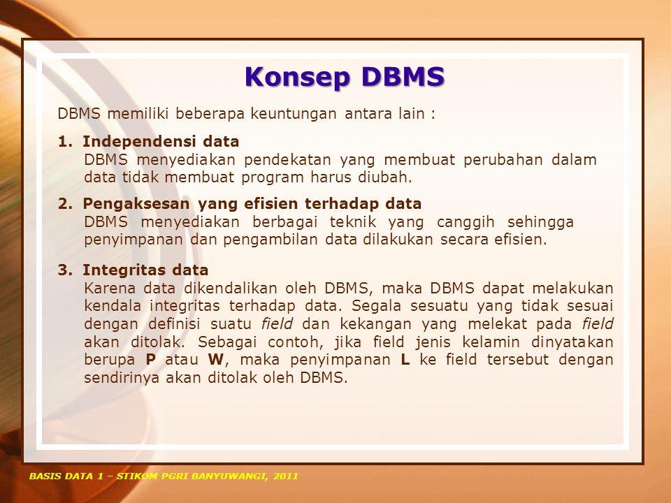 Konsep DBMS BASIS DATA 1 – STIKOM PGRI BANYUWANGI, 2011 DBMS memiliki beberapa keuntungan antara lain : 1.Independensi data DBMS menyediakan pendekata
