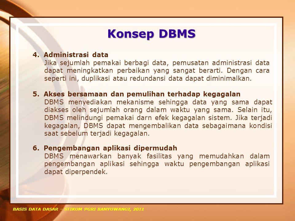 Konsep DBMS BASIS DATA DASAR – STIKOM PGRI BANYUWANGI, 2011 4.Administrasi data Jika sejumlah pemakai berbagi data, pemusatan administrasi data dapat