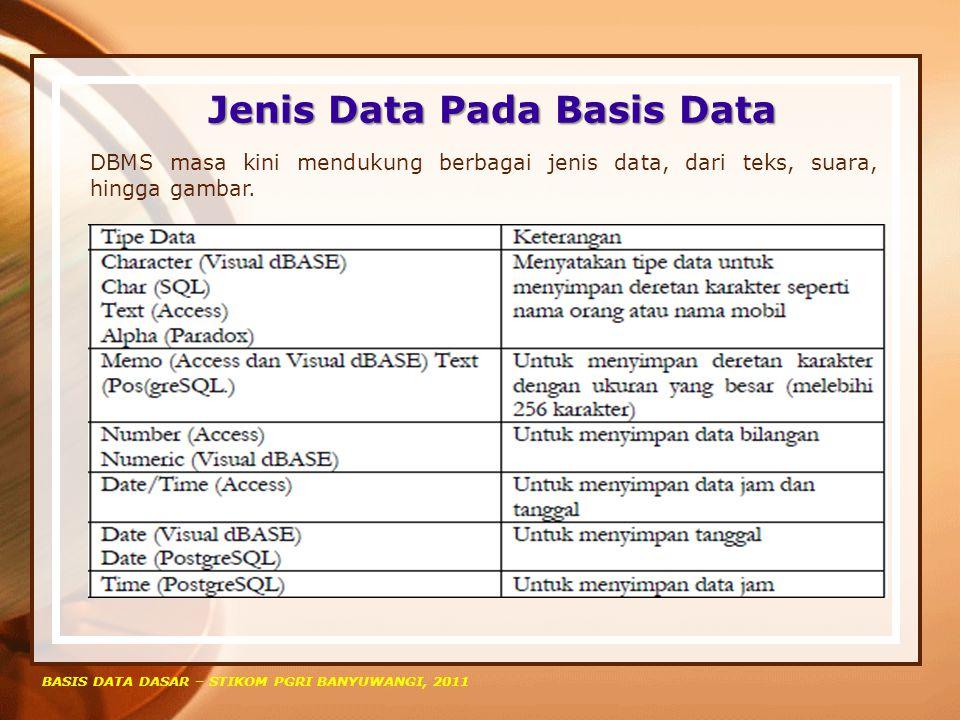 Jenis Data Pada Basis Data BASIS DATA DASAR – STIKOM PGRI BANYUWANGI, 2011 DBMS masa kini mendukung berbagai jenis data, dari teks, suara, hingga gamb