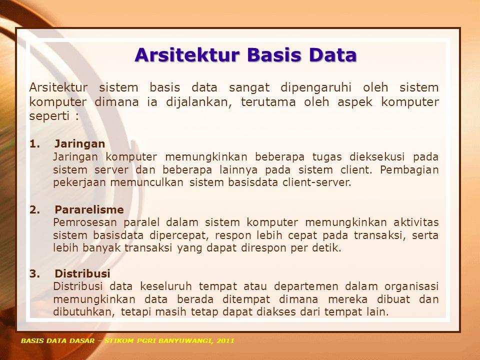 Arsitektur Basis Data BASIS DATA DASAR – STIKOM PGRI BANYUWANGI, 2011 Arsitektur sistem basis data sangat dipengaruhi oleh sistem komputer dimana ia d