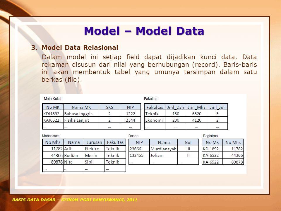 Model – Model Data BASIS DATA DASAR – STIKOM PGRI BANYUWANGI, 2011 3.Model Data Relasional Dalam model ini setiap field dapat dijadikan kunci data. Da
