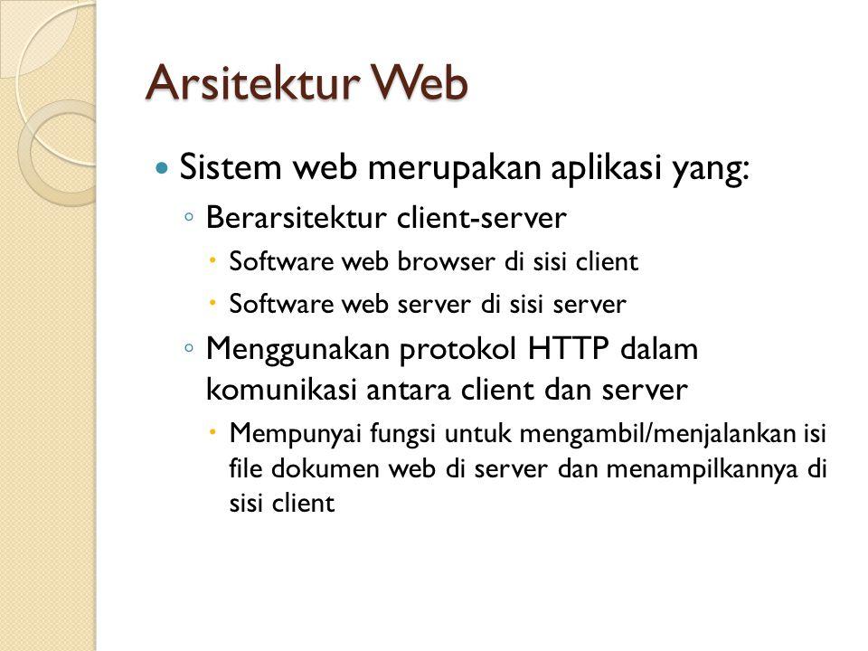 Sistem web merupakan aplikasi yang: ◦ Berarsitektur client-server  Software web browser di sisi client  Software web server di sisi server ◦ Menggun