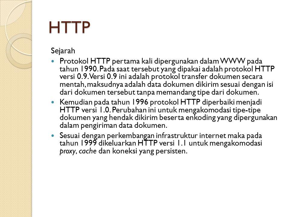 HTTP Sejarah Protokol HTTP pertama kali dipergunakan dalam WWW pada tahun 1990. Pada saat tersebut yang dipakai adalah protokol HTTP versi 0.9. Versi