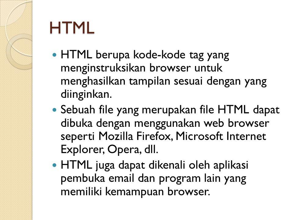 HTML HTML berupa kode-kode tag yang menginstruksikan browser untuk menghasilkan tampilan sesuai dengan yang diinginkan. Sebuah file yang merupakan fil