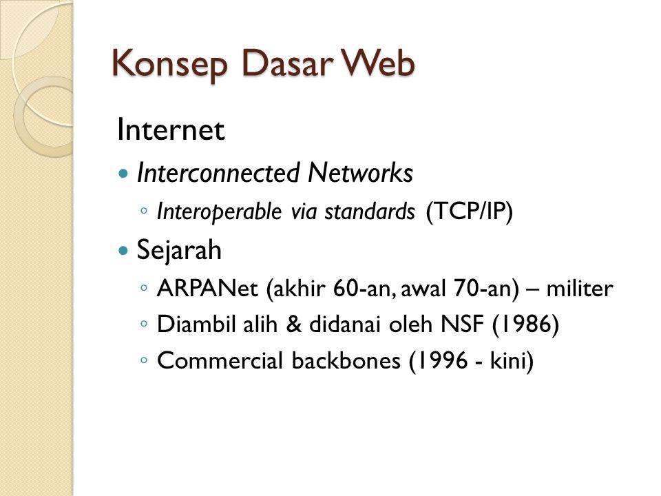 Konsep Dasar Web Internet vs Intranet Internet ◦ Global, open, public ◦ Disebut juga extranet untuk membedakannya dari Intranet Intranet ◦ Jaringan pribadi untuk digunakan secara eksklusif oleh sebuah organisasi ◦ Umumnya berada di belakang firewall