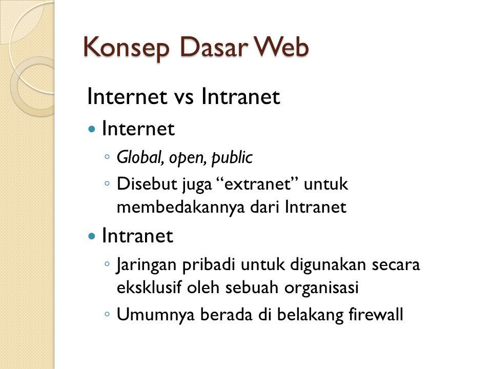 "Konsep Dasar Web Internet vs Intranet Internet ◦ Global, open, public ◦ Disebut juga ""extranet"" untuk membedakannya dari Intranet Intranet ◦ Jaringan"