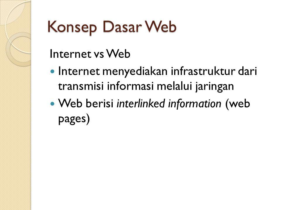 Konsep Dasar Web Internet vs Web Internet menyediakan infrastruktur dari transmisi informasi melalui jaringan Web berisi interlinked information (web