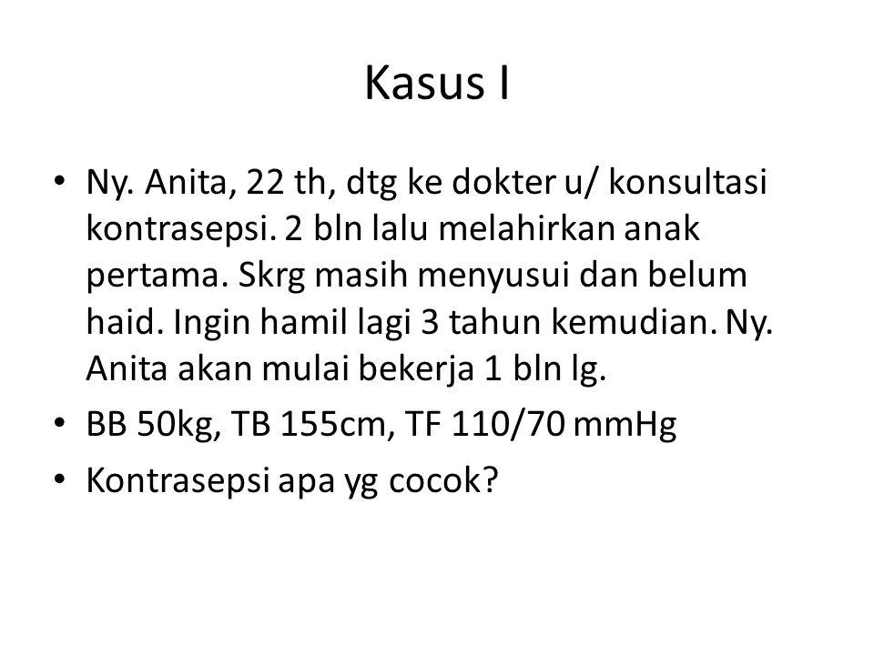 Kasus I Ny. Anita, 22 th, dtg ke dokter u/ konsultasi kontrasepsi. 2 bln lalu melahirkan anak pertama. Skrg masih menyusui dan belum haid. Ingin hamil