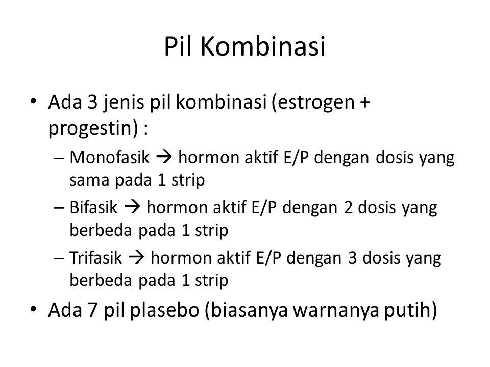 Pil Kombinasi Ada 3 jenis pil kombinasi (estrogen + progestin) : – Monofasik  hormon aktif E/P dengan dosis yang sama pada 1 strip – Bifasik  hormon