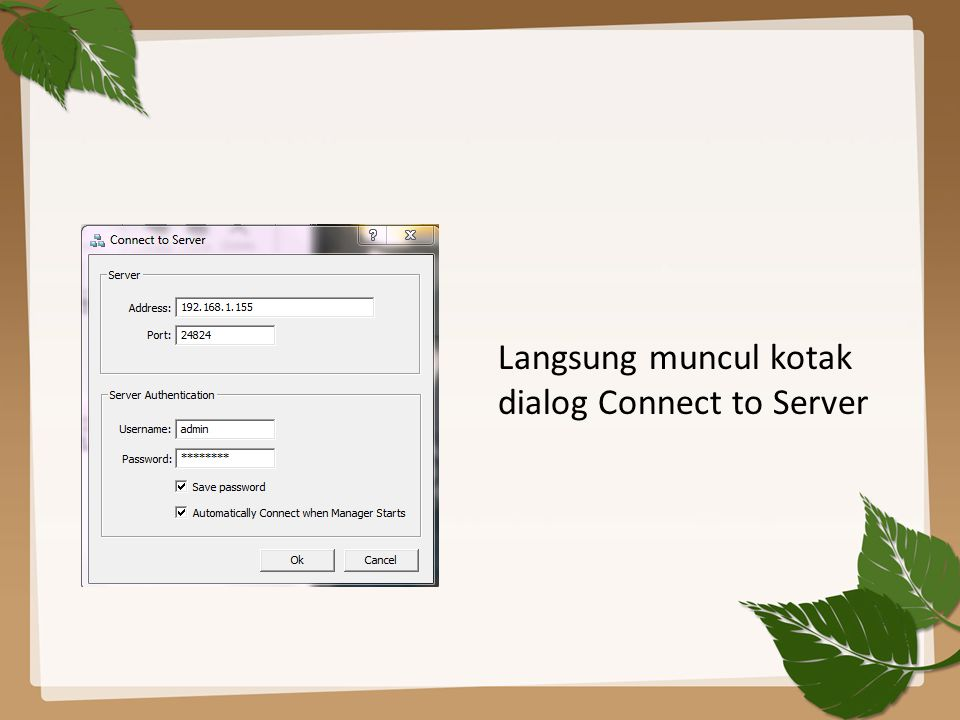 Langsung muncul kotak dialog Connect to Server