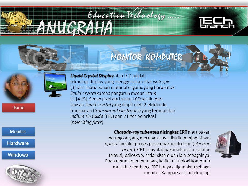 MONITOR KOMPUTER Chatode-ray tube atau disingkat CRT Chatode-ray tube atau disingkat CRT merupakan perangkat yang merubah sinyal listrik menjadi sinya