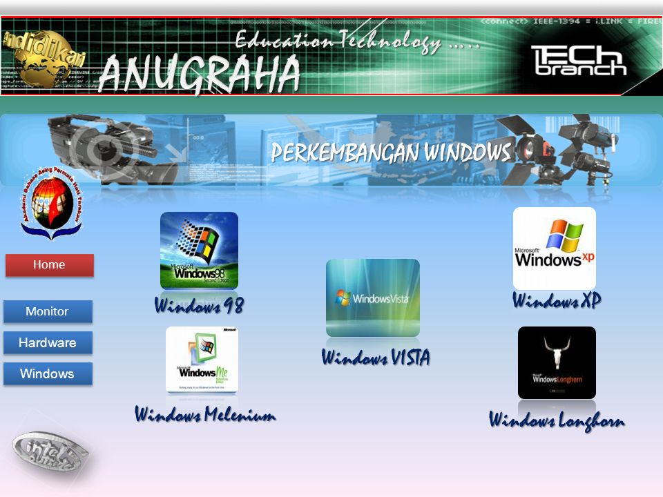 PERKEMBANGAN WINDOWS Windows 98 Windows Melenium Windows XP Windows Longhorn Windows VISTA Monitor Hardware Windows Welcome To Aba Tarakan Technology