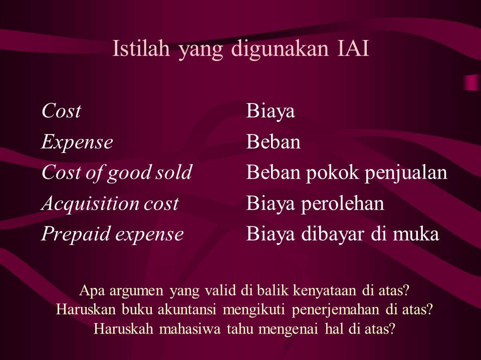 Istilah yang digunakan IAI Cost Expense Cost of good sold Acquisition cost Prepaid expense Biaya Beban Beban pokok penjualan Biaya perolehan Biaya dibayar di muka Apa argumen yang valid di balik kenyataan di atas.