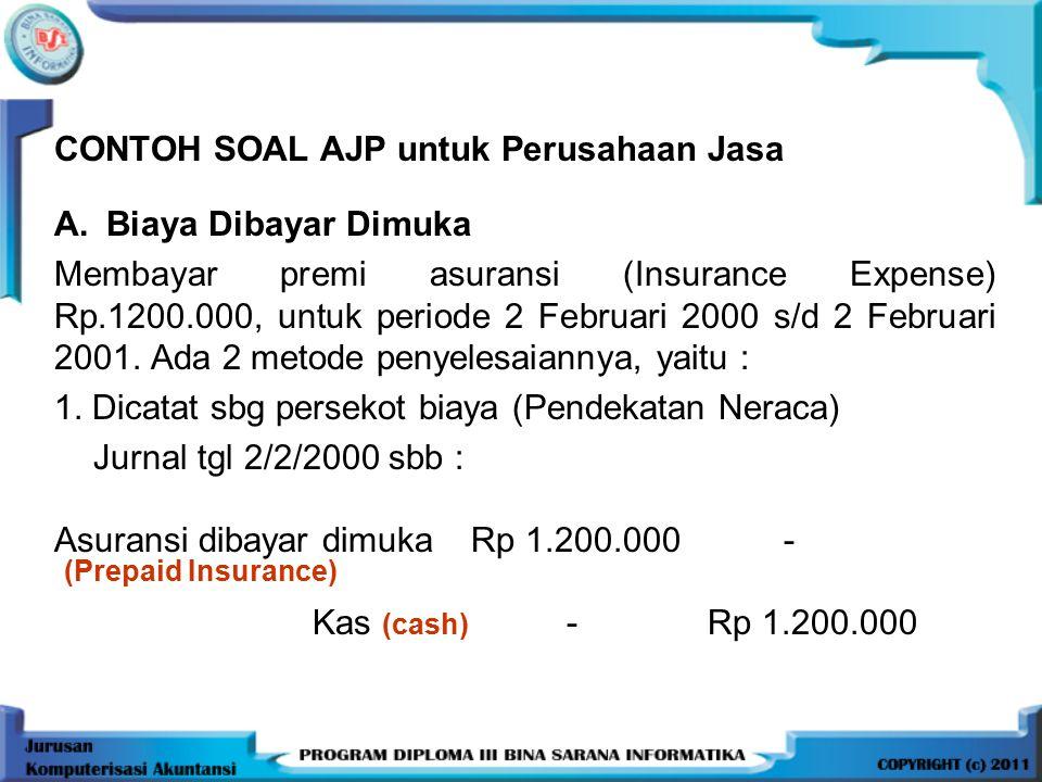 CONTOH SOAL AJP untuk Perusahaan Jasa A.Biaya Dibayar Dimuka Membayar premi asuransi (Insurance Expense) Rp.1200.000, untuk periode 2 Februari 2000 s/d 2 Februari 2001.