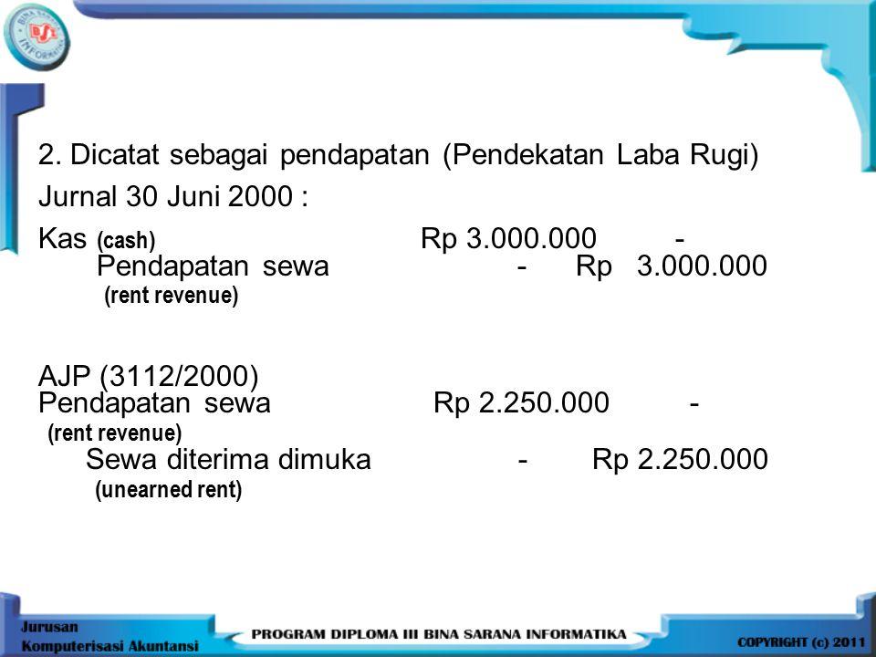 2. Dicatat sebagai pendapatan (Pendekatan Laba Rugi) Jurnal 30 Juni 2000 : Kas (cash) Rp 3.000.000 - Pendapatan sewa - Rp 3.000.000 (rent revenue) AJP