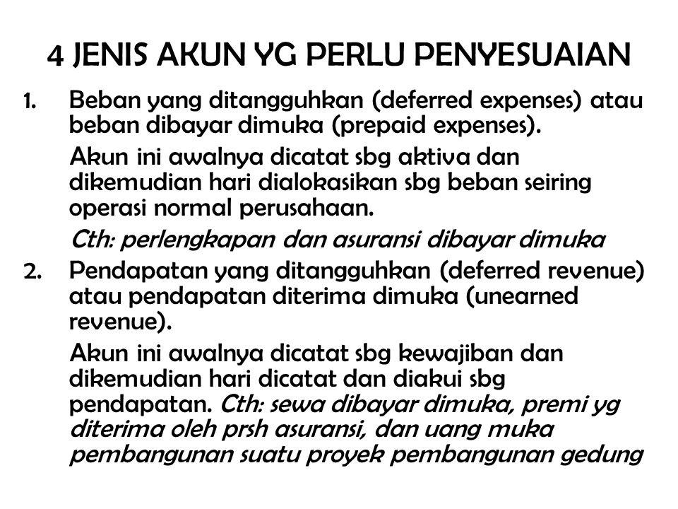 4 JENIS AKUN YG PERLU PENYESUAIAN 1.Beban yang ditangguhkan (deferred expenses) atau beban dibayar dimuka (prepaid expenses). Akun ini awalnya dicatat