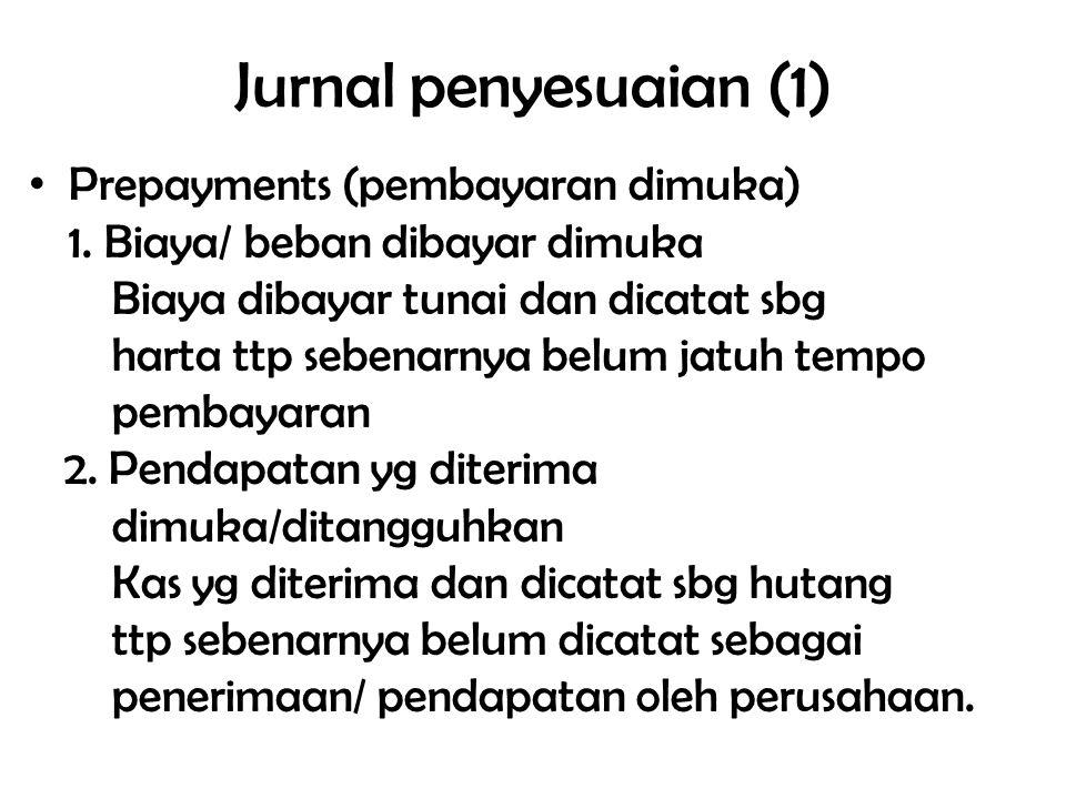 Jurnal penyesuaian (1) Prepayments (pembayaran dimuka) 1. Biaya/ beban dibayar dimuka Biaya dibayar tunai dan dicatat sbg harta ttp sebenarnya belum j