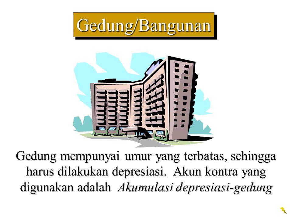 Gedung/BangunanGedung/Bangunan Gedung mempunyai umur yang terbatas, sehingga harus dilakukan depresiasi. Akun kontra yang digunakan adalah Akumulasi d
