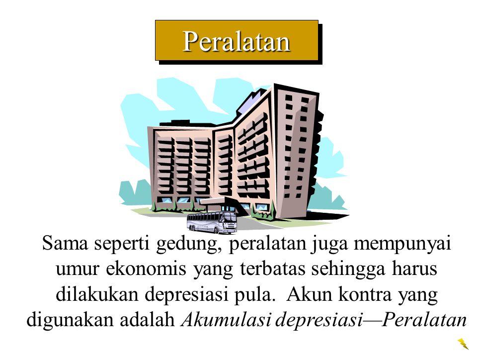 PeralatanPeralatan Sama seperti gedung, peralatan juga mempunyai umur ekonomis yang terbatas sehingga harus dilakukan depresiasi pula. Akun kontra yan