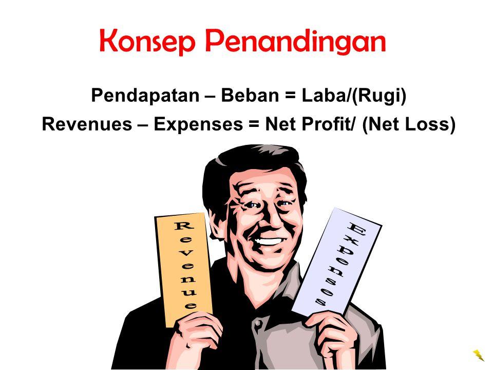 Konsep Penandingan Pendapatan – Beban = Laba/(Rugi) Revenues – Expenses = Net Profit/ (Net Loss)