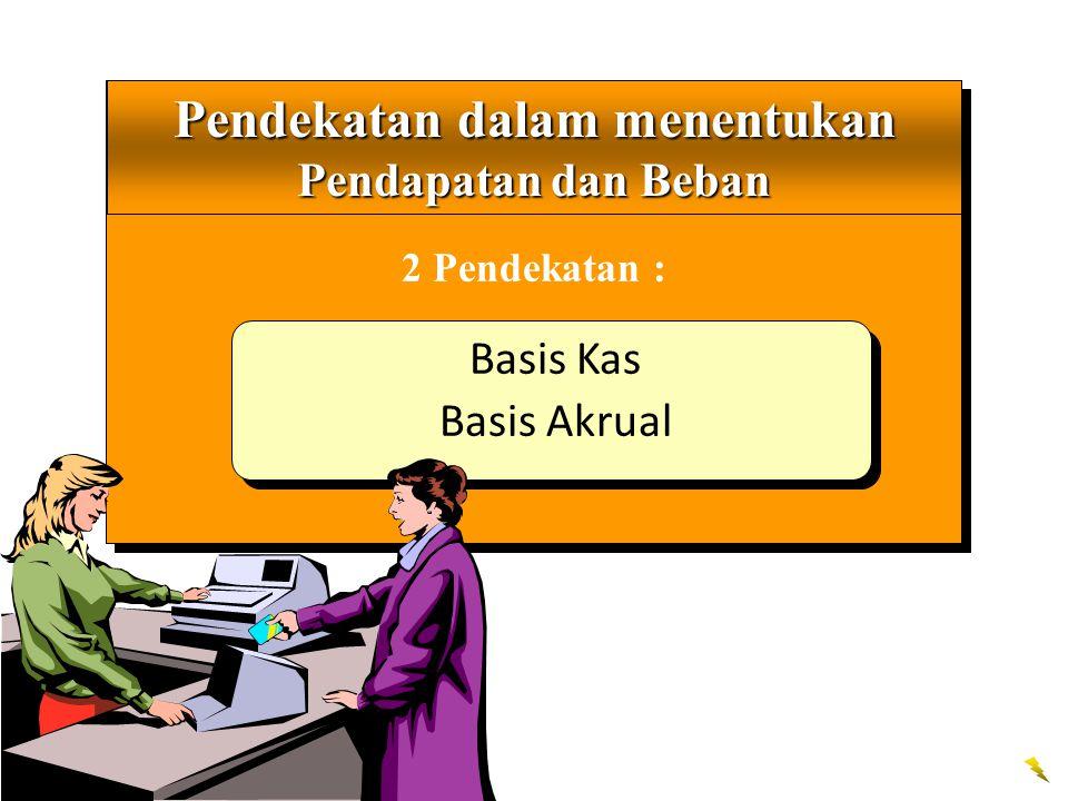 Pendekatan berbasis kas mencatat pendapatan dan beban di dalam laporan Laba Rugi bilamana kas diterima atau dibayarkan