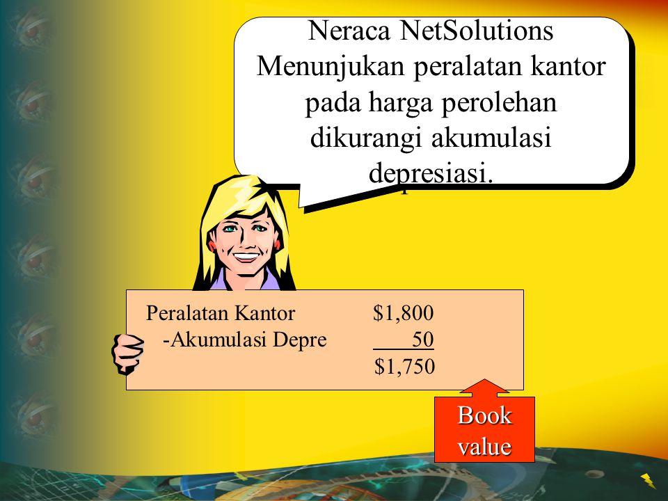 Neraca NetSolutions Menunjukan peralatan kantor pada harga perolehan dikurangi akumulasi depresiasi. Peralatan Kantor$1,800 -Akumulasi Depre 50 $1,750