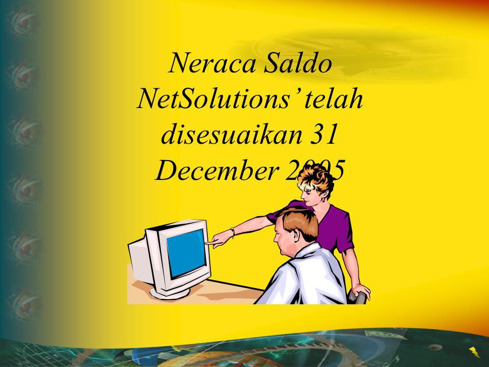 Neraca Saldo NetSolutions' telah disesuaikan 31 December 2005