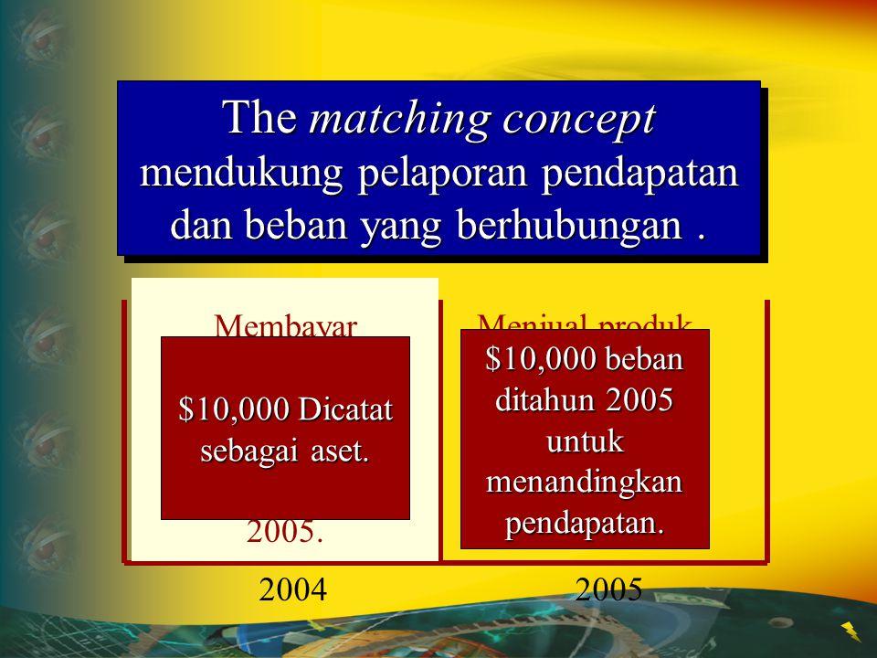 The matching concept mendukung pelaporan pendapatan dan beban yang berhubungan. 20042005 Paid $10,000 for an advertising campaign for a product that w