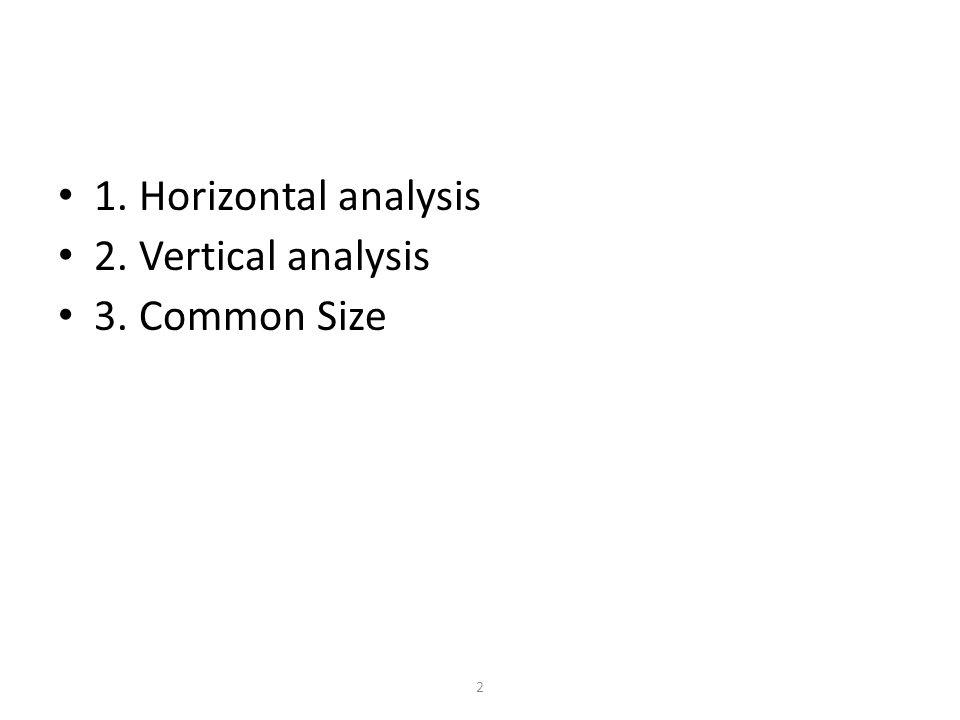 2 1. Horizontal analysis 2. Vertical analysis 3. Common Size