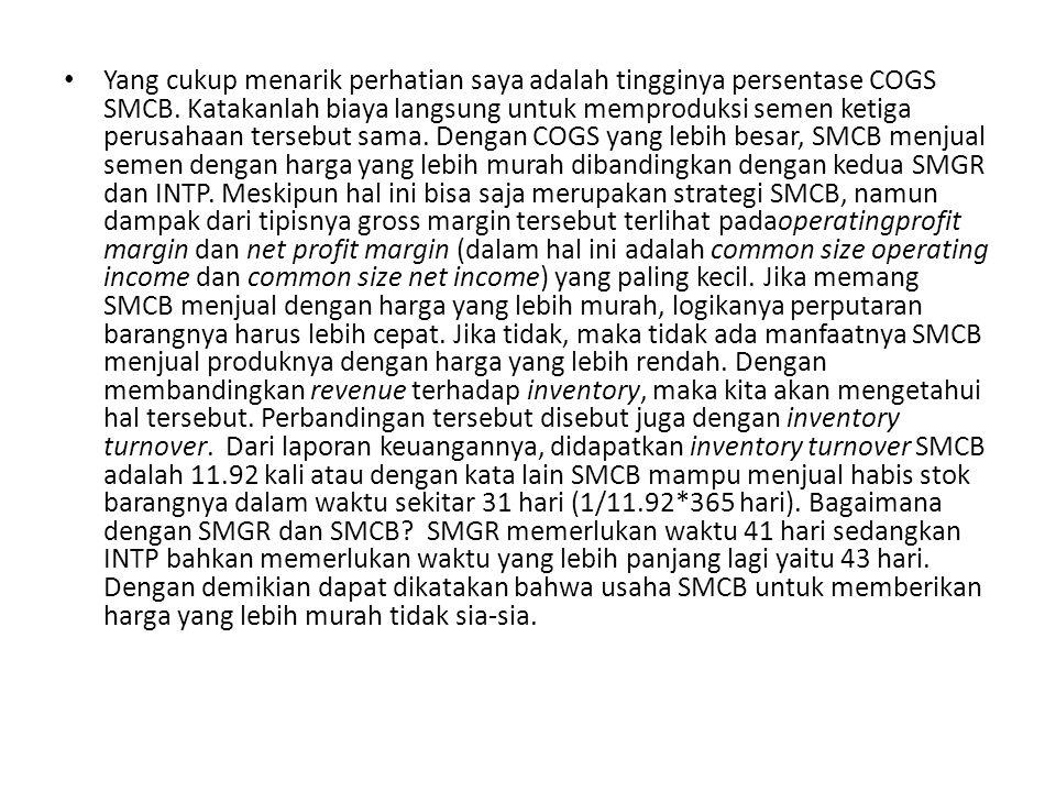 Yang cukup menarik perhatian saya adalah tingginya persentase COGS SMCB.