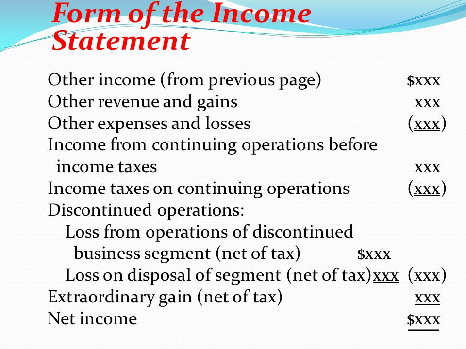 Other income (from previous page)$xxx Other revenue and gainsxxx Other expenses and losses(xxx) Income from continuing operations before income taxesx