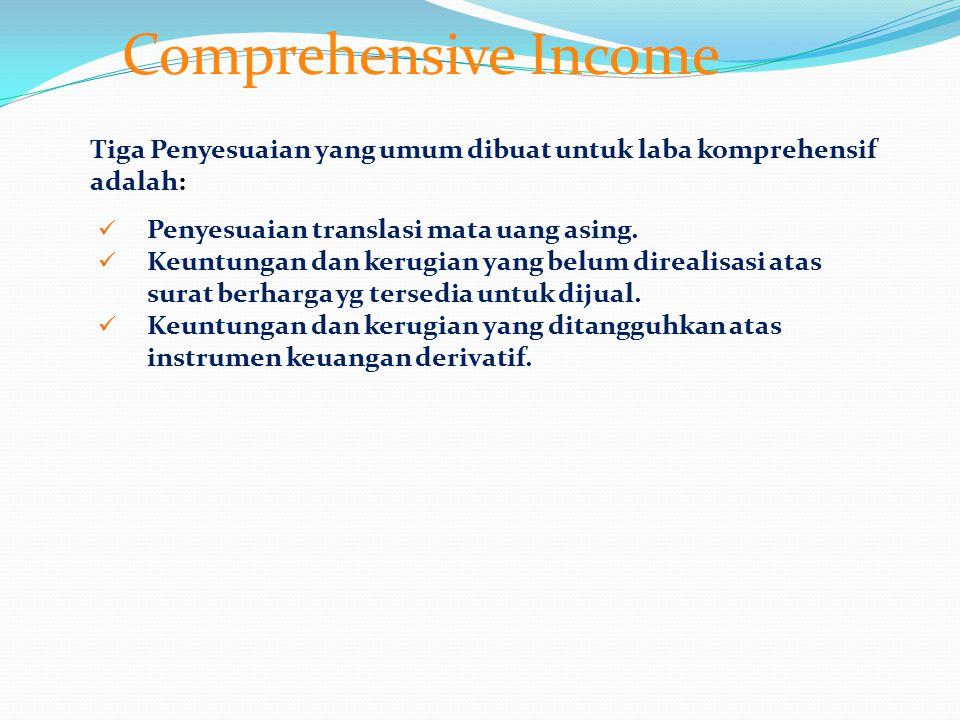 Comprehensive Income Tiga Penyesuaian yang umum dibuat untuk laba komprehensif adalah: Penyesuaian translasi mata uang asing. Keuntungan dan kerugian