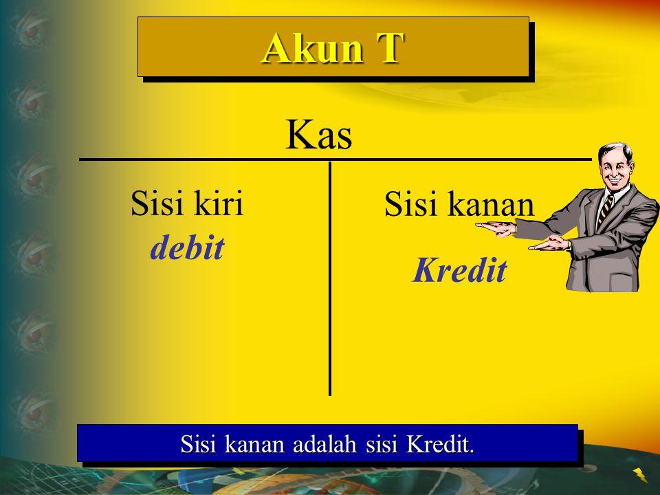 Akun T Sisi kanan adalah sisi Kredit. Kas Sisi kiri debit Sisi kanan Kredit